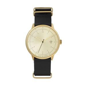 Zegarek z czarnym paskiem i cyferblatem w złotej barwie CHPO Harold