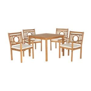 Jasnobrązowy zestaw stołu ogrodowego i krzeseł z drewna akacji Safavieh Mendoza II
