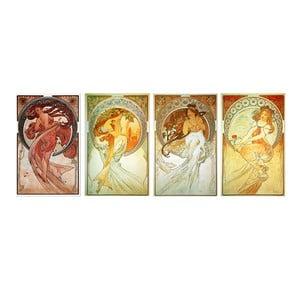 Zestaw 4 obrazów Alfonsa Muchy - The Arts, 50x80 cm