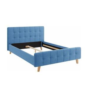 Niebieskie łóżko 2-osobowe Støraa Limbo, 140x200cm