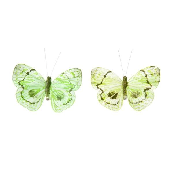 Zestaw dekoracyjnych motyli Green Mix, 24 ks