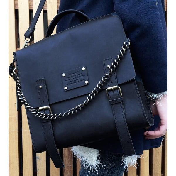 Skórzana torba vintage Frankie Fierce, czarna
