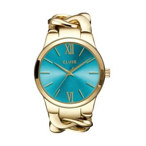 Zegarek damski Elegante Gold/Blue Lagoon, 38 mm