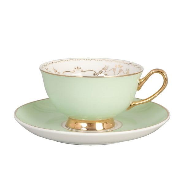 Ceramiczny kubek z podstawką Clayre Green, 200 ml