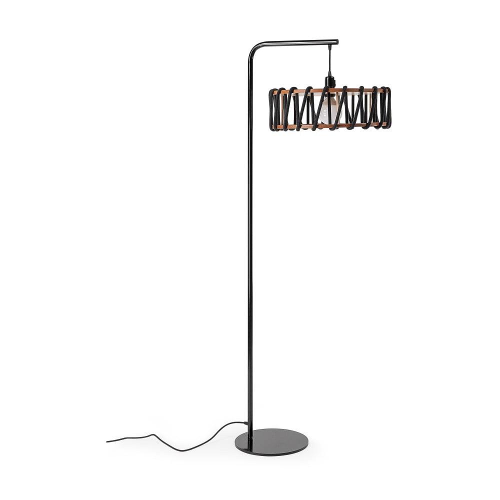 Lampa stojąca z czarną konstrukcją i dużym czarnym kloszem EMKO Macaron