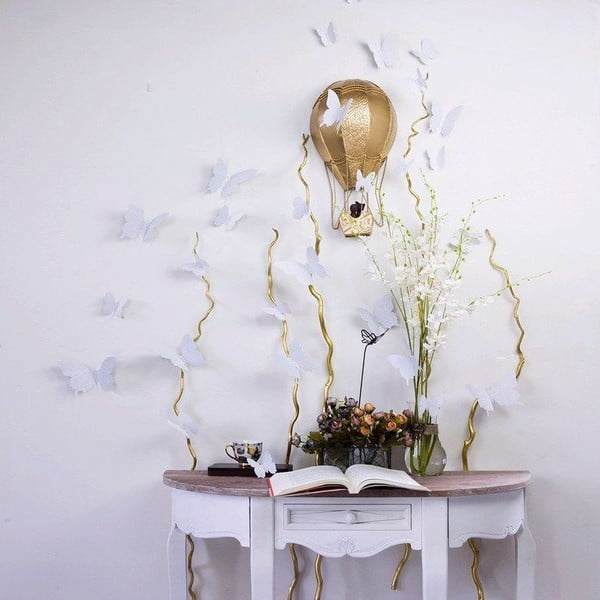 Zestaw   12 naklejek Ambiance Silver Butterflies