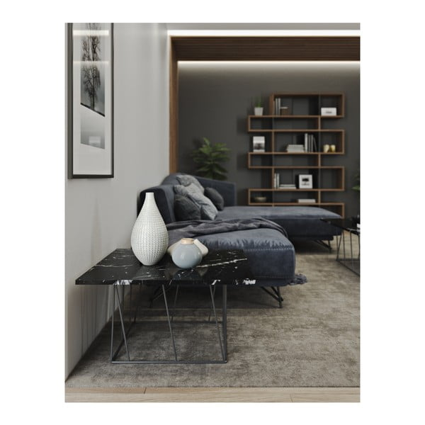 Czarny stolik marmurowy z czarnymi nogami TemmaHome Helix, 75 cm