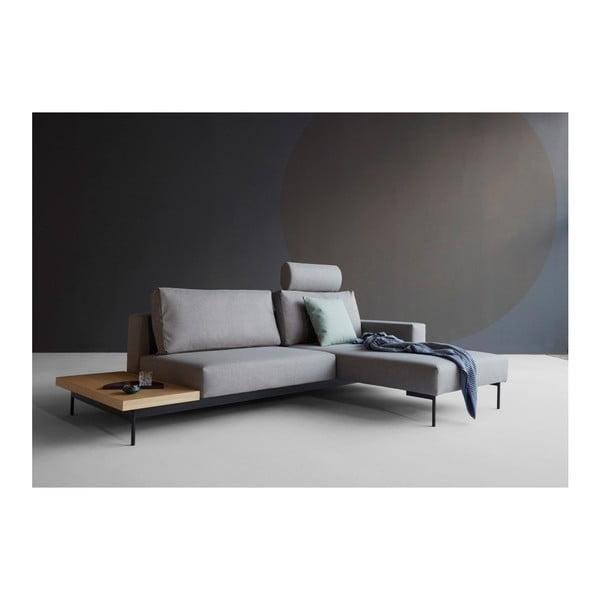 Brązowoszara rozkładana narożna sofa ze stolikiem Innovation Bragi