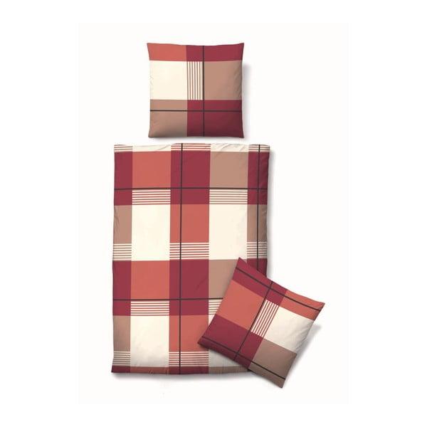 Pościel Biber Komfort Block Red, 135x200 cm