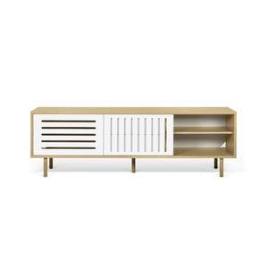 Stolik pod TV w kolorze dębu z białymi elementami TemaHome Dann Stripes, dł. 201cm