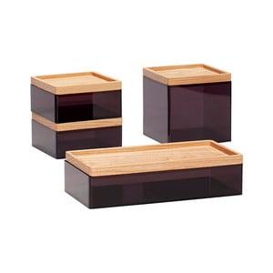 Zestaw 4 czarnych pojemników z wieczkiem z drewna dębowego Hübsch Eluf