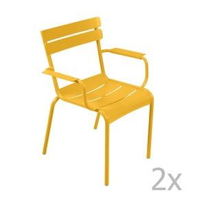 Zestaw 2 żółtych krzeseł z podłokietnikami Fermob Luxembourg