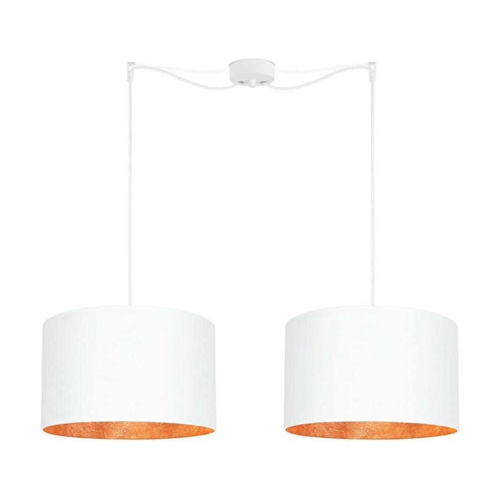 Biała podwójna lampa wisząca z wnętrzem w miedzianej barwie Sotto Luce Mika