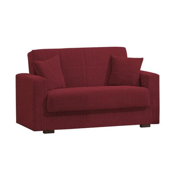 Czerwona dwuosobowa sofa rozkładana ze schowkiem Esidra Relax
