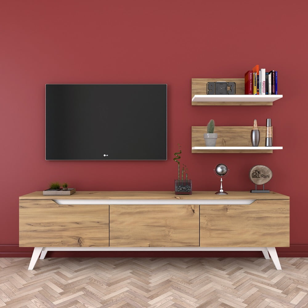 Zestaw szafki pod TV i 2 półek w dekorze drewna Rani