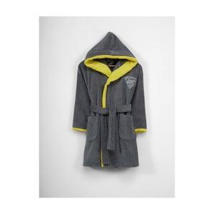 Dětský šedo-žlutý bavlněný župan s kapucí, 3-6 let