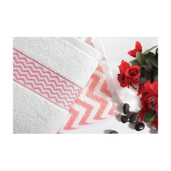 Komplet 2 różowo-białych ręczników bawełnianych Ladik Ella, 50x90 cm