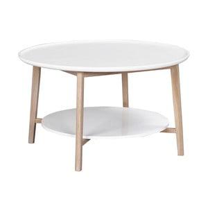 Biały stolik dębowy z matowymi nogami, ⌀ 90 cm