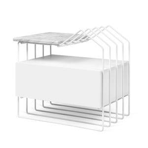 Biała szafka nocna z marmurowym blatem TemaHome Domi