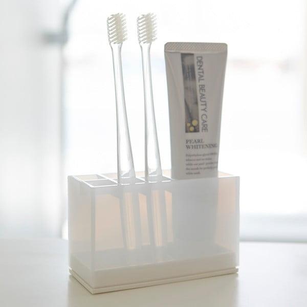 Biały stojak na szczoteczki i pastę do zębów Yamazaki Veil