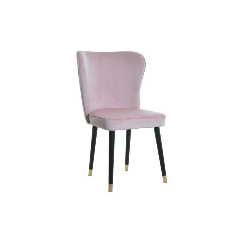 Różowe krzesło z detalami w złotym kolorze JohnsonStyle Odette Mil