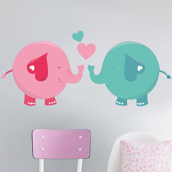 Naklejka na ścianę Zakochane słonie, 50x70 cm