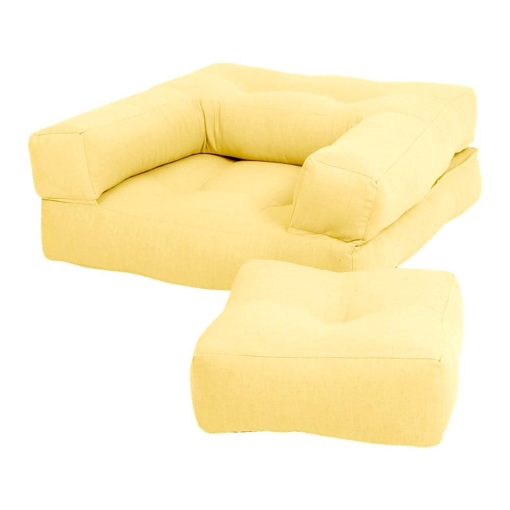 Żółty dziecięcy fotel rozkładany z podnóżkiem/pufem Karup Design Mini Cube Yellow