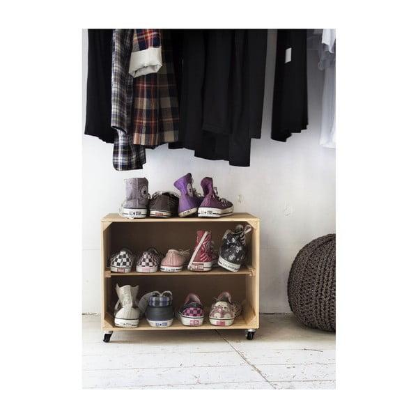Rustykalna, drewniana szafka na buty Really Nice Things Shoe, naturalna