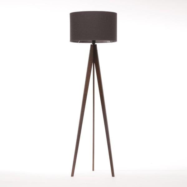 Czarna lampa stojąca 4room Artist, brązowa lakierowana brzoza, 150 cm