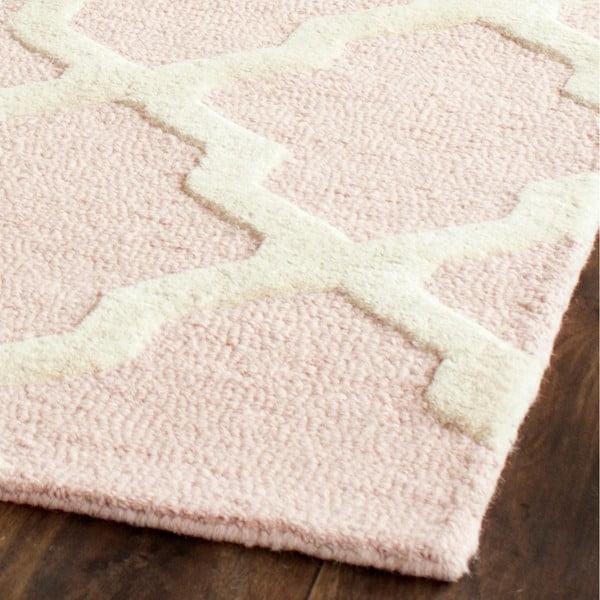 Dywan wełniany Ava Baby Pink, 76x243 cm