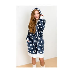 Niebieski szlafrok z motywem gwiazdek Lull Loungewear, rozmiar XL