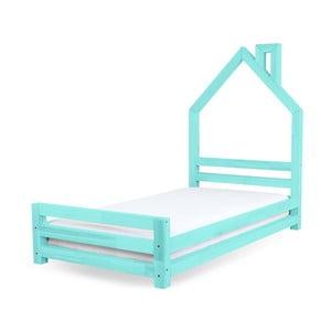 Turkusowe łożko dziecięce z drewna sosnowego Benlemi Wally,80x160cm