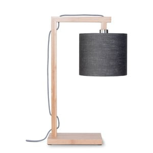 Lampa stołowa z ciemnoszarym kloszem i konstrukcją z bambusa Good&Mojo Himalaya