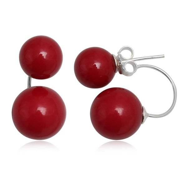 Kolczyki Two Pearls Red