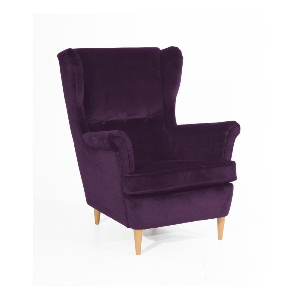 Fioletowy fotel z jasnobrązowymi nogami Max Winzer Clint Suede