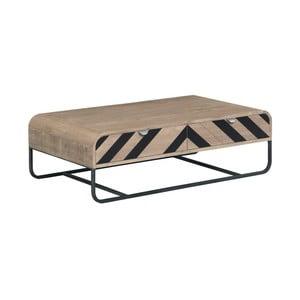 Stolik z litego drewna mangowego z czarnymi elementami Woodjam Chevron
