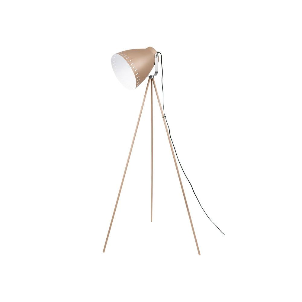 Piaskowobrązowa lampa stojąca z detalami w kolorze srebra Leitmotiv Mingle