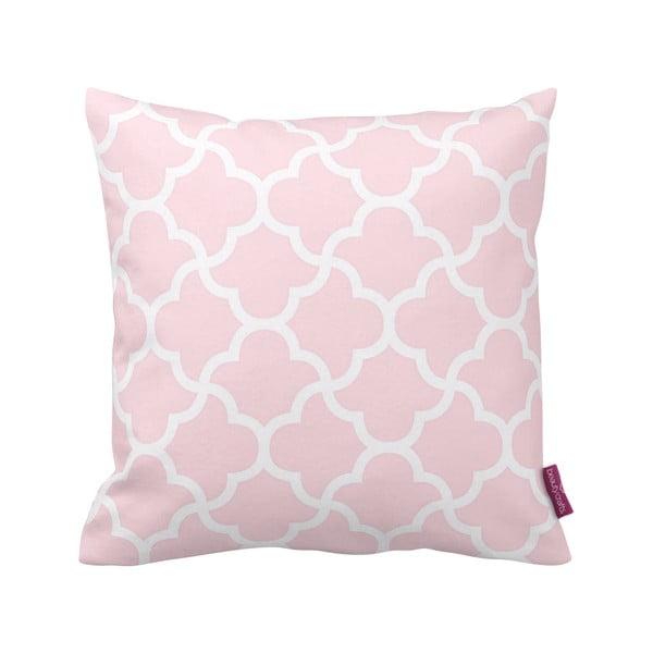 Różowo-biała poduszka Deco no. 53, 43x43cm
