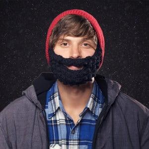 Czerwona czapka  z czarną brodą Beardo Attached