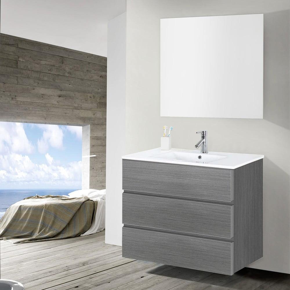 Szafka do azienki z umywalk i lustrem nayade odcie for Fenster 80 x 90