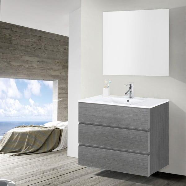 Szafka do łazienki z umywalką i lustrem Nayade, odcień szarości, 90 cm