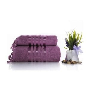 Komplet 2 fioletowych ręczników z bawełny Ladik Eleanor
