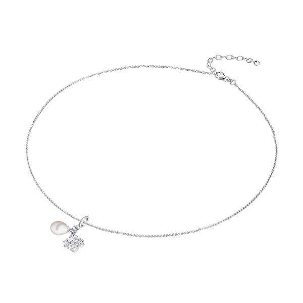 Srebrny naszyjnik z zawieszką i perłą Chakra Pearls Done, 42 cm
