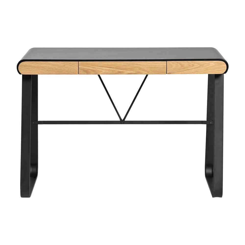 Czarne biurko z 3 szufladami Marckeric Astrid