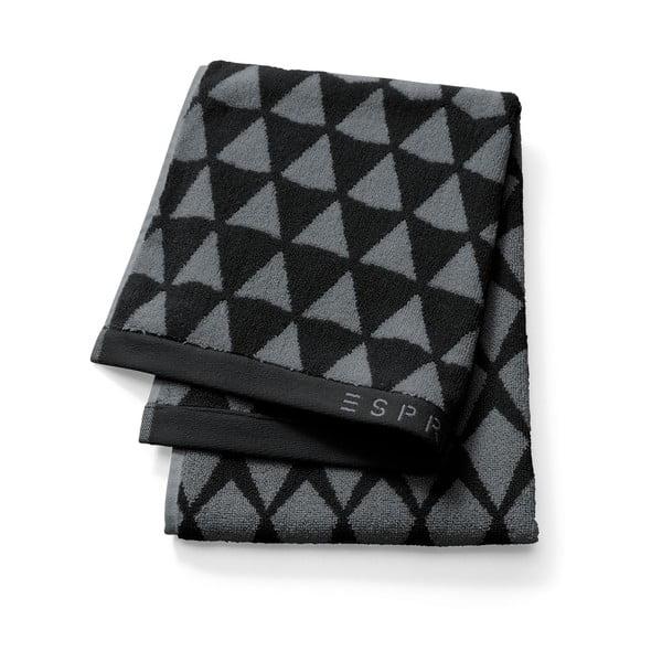 Czarny wzorzysty ręcznik Esprit Mina, 50x100 cm