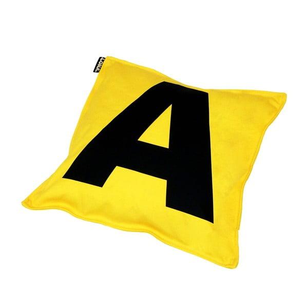Poduszka Lona Letter 40x40 cm, żółta