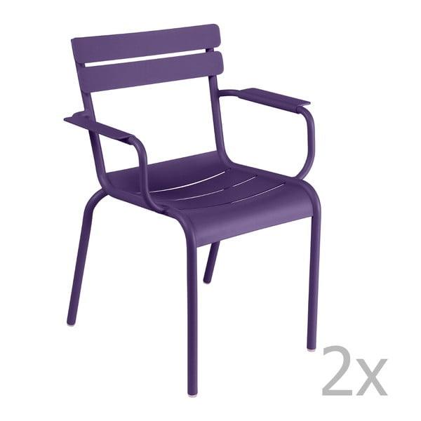 Zestaw 2 fioletowych krzeseł z podłokietnikami Fermob Luxembourg