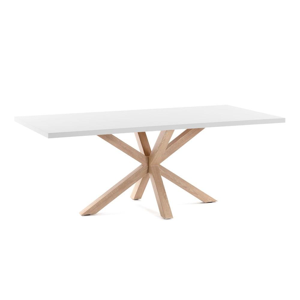 Biały stół z konstrukcją w kolorze drewna La Forma Arya, 160 x 100 cm