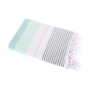 Ciemnozielony ręcznik Hammam Leodikia, 100x150 cm