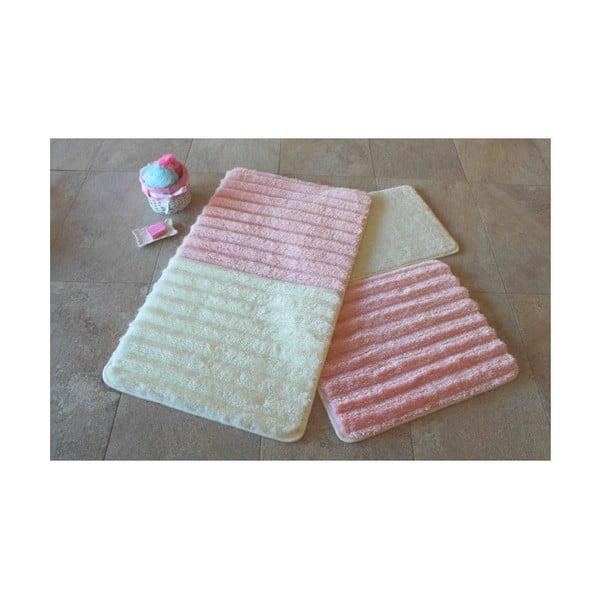 Zestaw 3 biało-różowych dywaników łazienkowych